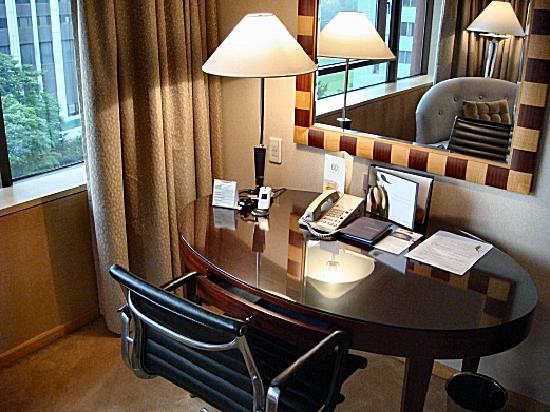 The Westin Chosun Seoul: The work desk. Note the mobile phone for guest's use
