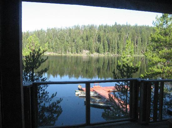 Idabel Lake Resort: view of dock from our suite