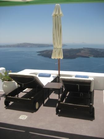 Dreams Luxury Suites: View from door to patio (pool is below patio)
