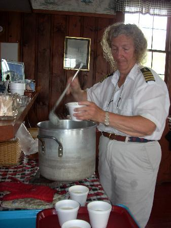 House Island Lobster Bakes & Tours: Here Karen dishes out steaming bowls of chowder for her guests.
