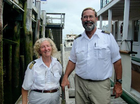 House Island Lobster Bakes & Tours: Our hosts Karen and Hal at the dock.