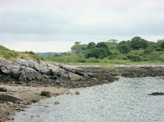 House Island Lobster Bakes & Tours: A view of Fort Scammel from the boat dock.
