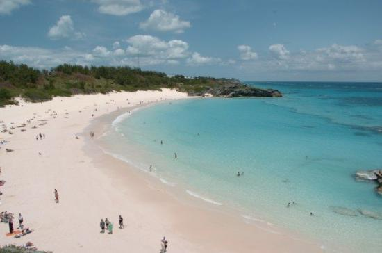 Bermuda: the famous Horshoe Bay Beach with soft, fine, powdery pink sand