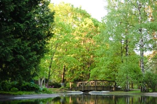 Helsinki, Finnland: Сады и мосты в утреннем свете были прекрасны.