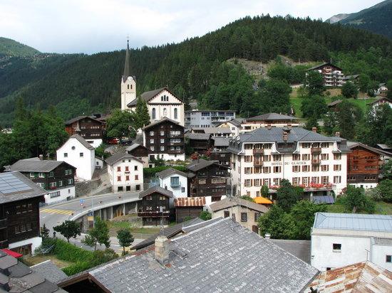 Fiesch in Valais, Schweiz: View from the hotel towards Fiesch