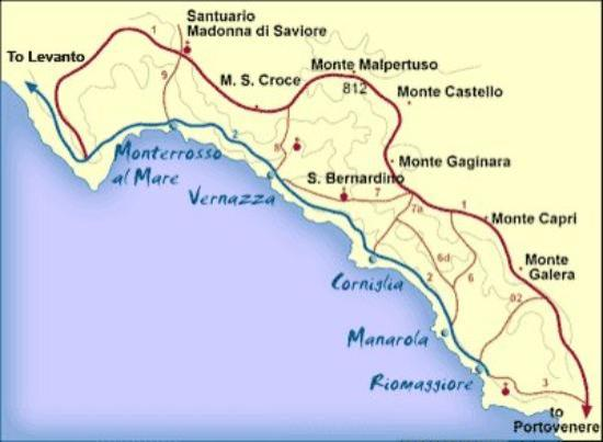 Riomaggiore Italy Map.The Trail Map Starts At Riomaggiore And Ends Monterosso Beautiful