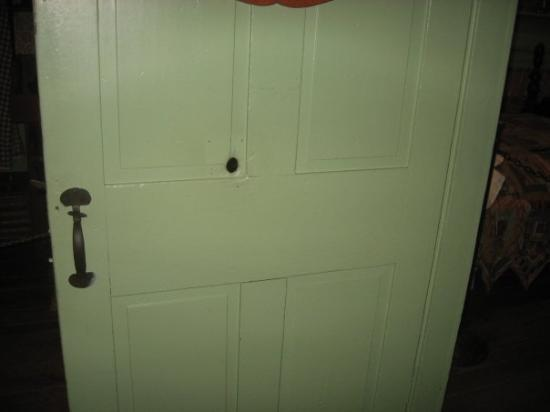 Jennie Wade House: Hole in the door of the Jenny Wade house.  Bullet traveled through the door and killed her.