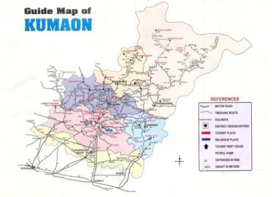 Pithoragarh India  city photo : Pithoragarh, India: Kumaon Map