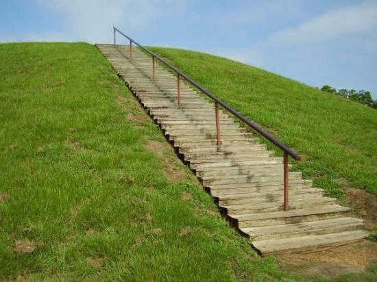 stairs to top of burial mound near Natchez Trace Pkwy