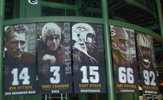 The five retired numbers of the Green Bay Packers.  Lambeau Field, Green Bay