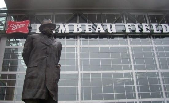 Vince Lombardi statue outside the north entrance to Lambeau Field, Green Bay.