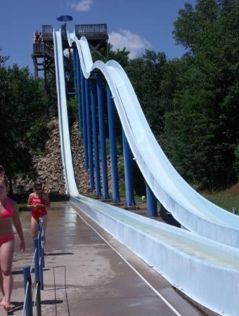 Wisconsin Dells, WI: These 2 slides are officially called Dragon's Tail (right) and Demon's Drop, but we nicknamed th