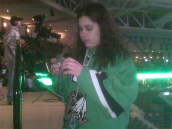 Ralph Engelstad Arena: Kerri playing with her camera suprise suprise