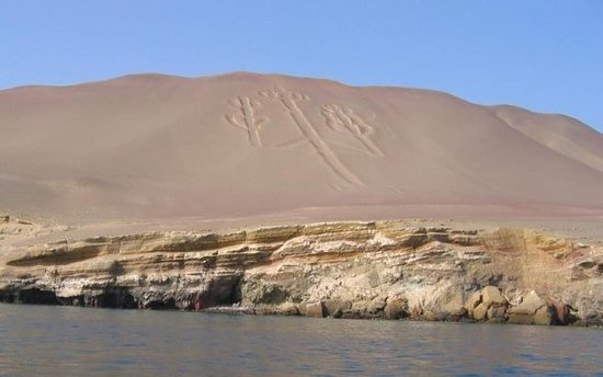 The Candelabra off the shore of  Paracas Peru is not related to the Nazca lines.  Like the lines