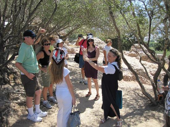 Athens Walking Tours: Maria, our guide, sharing with our group