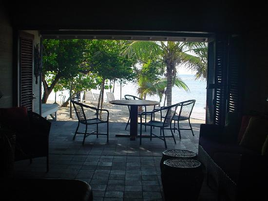 View from living room onto patio/beach