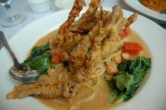 Irene's Cuisine: Fried soft shell crab pasta (yes those are two crabs!)