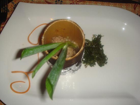 The Village House: Pork in bamboo; part of the amazing Borneo experience tasting menu