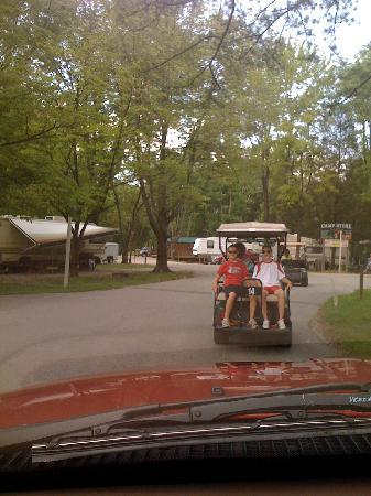 Lake Rudolph Campground & RV Resort: Escorted back to our cabin