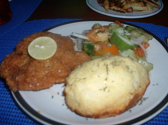 Erva's: Fried chicken, twice baked potato, fresh veggie salad and fries