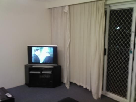 Bayview Bay Apartments : Curtains hanging off and the sliding doors don't lock