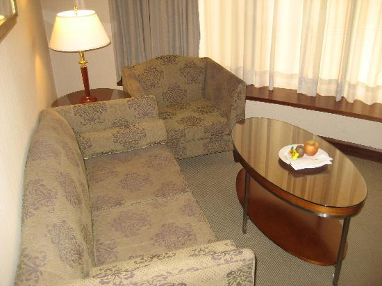 Monarch Plaza Hotel: Sofa in TV room