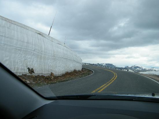 Montana: Remains of winter snow... some people carved their name/message into the side of the snowbank.