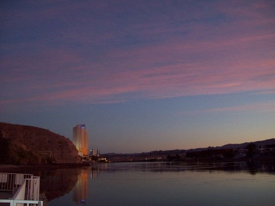 Sunset in Laughlin, NV behind Harrah's.