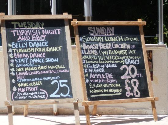 Prestij Apartments: Typical Menu Board (Changes Daily)