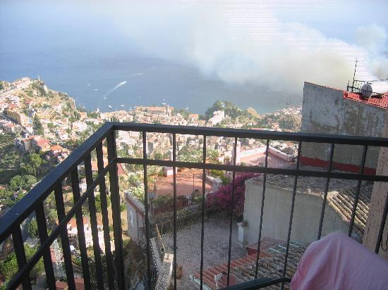 Castelmola, Italy: one of the many bush fires we saw!
