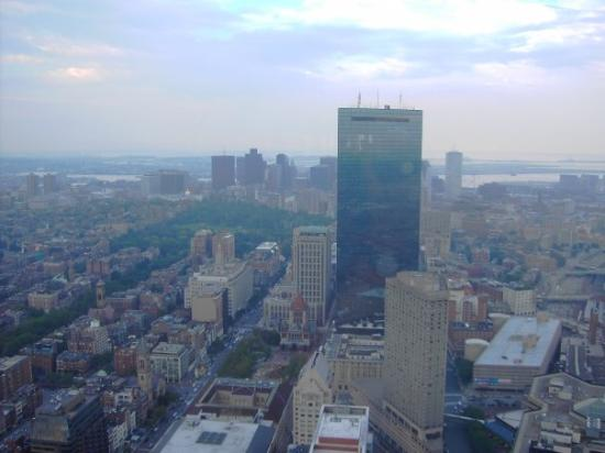 Prudential Center: Up in the Prudential Tower. Boston Common is the green spot in the middle. John Hancock Tower do