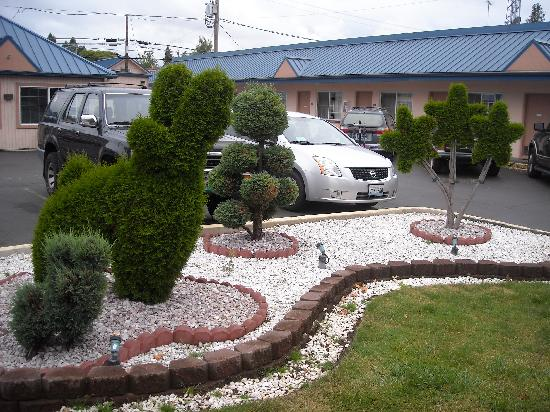 Americas Best Value Inn Eugene: Does any place have topiary as nice as this?