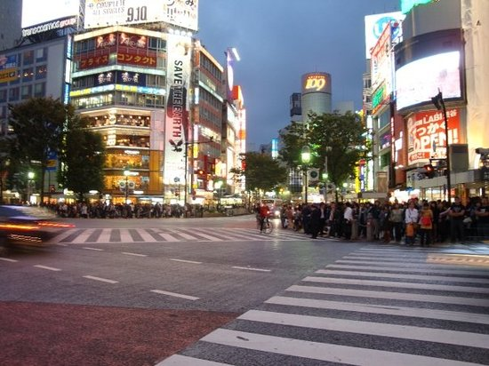 @ Shibuya - The world's most crowded intersection (Getting ready to plunge across the intersect