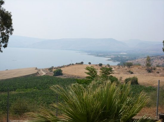 Тверия, Израиль: The Sea of Galilee from our B & B deck