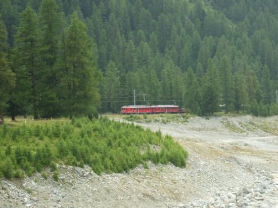 Pontresina, Switzerland: A mountain train going by