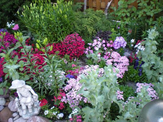 Austrian Haven Bed and Breakfast: Flower garden in the back yard