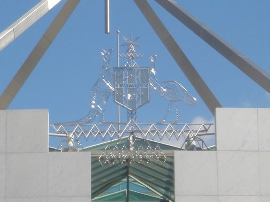 Australian Parliament House: Australian coat of arms on top of Parliament House.