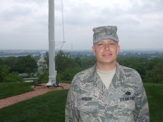 Arlington House - The Robert E. Lee Memorial: Lt. Fesler at Robert E. Lee's house at Arlington Cemetary