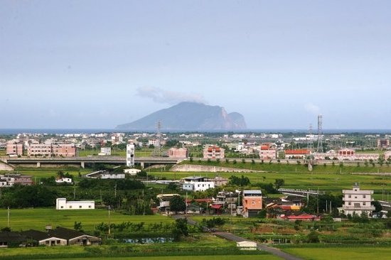"Yilan, Taiwan: view from roof of hotel, the island in the middle is ""tortle island"" (more likely a shoe)"