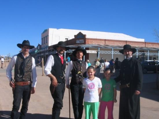 """O.K. Corral: Chloe and Caitlyn with the men who played """"Doc Holiday and Wyatt Earp in the recreation of the g"""