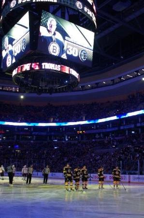 TD Garden: On-ice view of the TD Banknorth Garden's Jumbo-Tron, and the starting lineup of the Boston Bruin