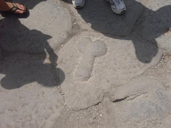 Pompeii, Italy: Yep its a penis.  Prostitution really is the oldest profession.  This penis was carved in the gr