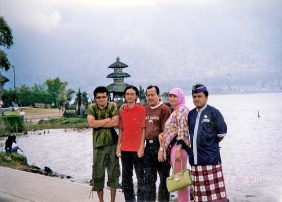 Lake Batur (Danau Batur): yellow temple in bedugul,bali..