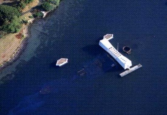 Hilo, HI: Pearl Harbor is only 45 feet  deep, so the wreck of the USS Arizona,the starkest reminder of the