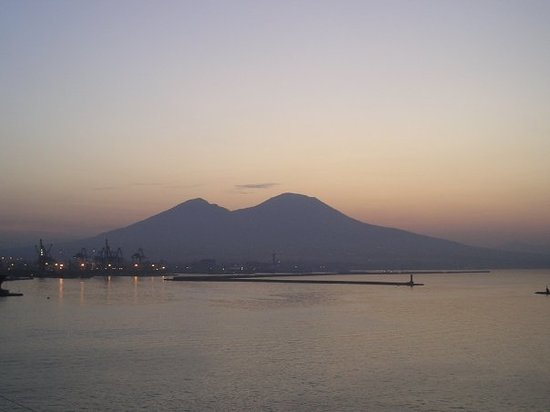 Day 7: an early morning photo of Mount Vesuvius, taken from the cruise ship arriving in Naples,