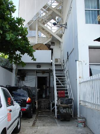 San Juan Beach Hotel : Items blocking access to fire escape ladder