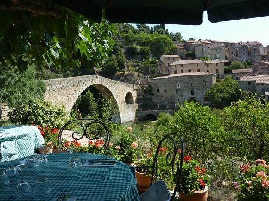 View from my table of the Devil's Bridge and Olargues