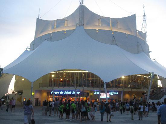 la nouba cirque du soleil exterior of the theatre where cirque du soleils la