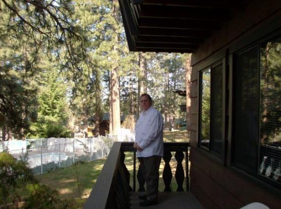 Emerald Bay Lodge: On the porch of our cabin in South Lake Tahoe.
