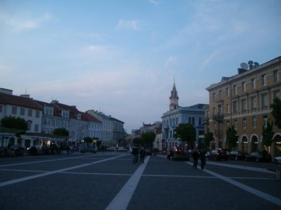 Vilnius Old Town: We partied until the morning...At the Town Square of Vilnius.